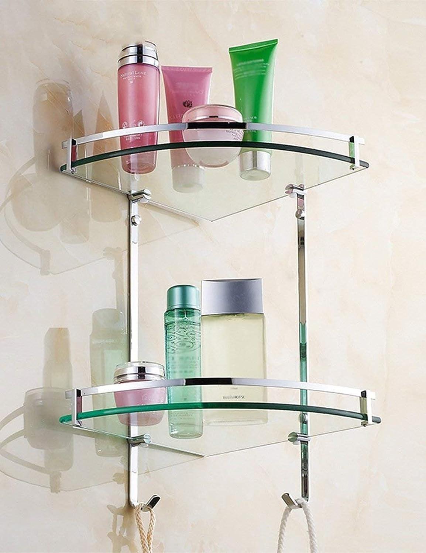Elegant Towel Stand GZ Bathroom Towel Rack,Full Copper Double Triangle Glass Shelf Bathroom Rack Bathroom Shower Room Rack Ensuring Quality,Towel Rack (color   25  29cm)