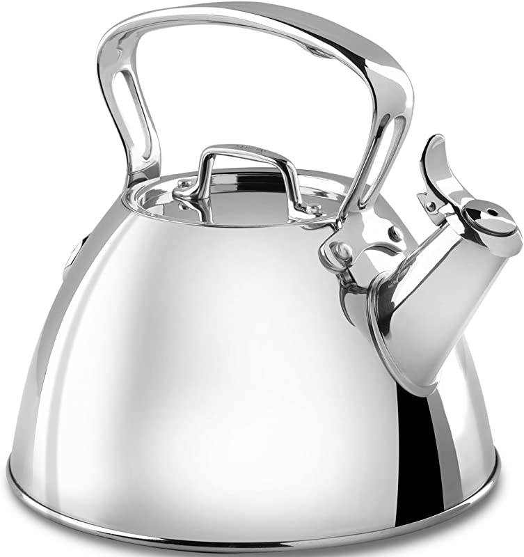All Clad E86199 Stainless Steel Specialty Cookware Tea Kettle 2 Quart Silver