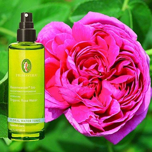 Primavera Vegane Bio Pflanzenwässer Pflegewässer 100% naturreine ätherische Öle 100ml, Duft:Rosenwasser