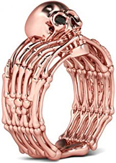 Steampunk Octopus Rings Womens Vintage Rose Gold Skull Jewelry