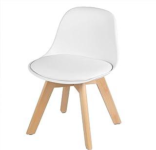 WOLTU KST005ws Chaise pour Enfants avec Pieds en Bois Hauteur de l'assise 33cm,Petite Chaise en PP+PU avec Dossier pour Ch...