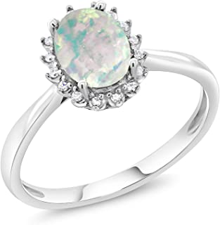 10K White Gold White Simulated Opal Women's Engagement Ring with Diamonds (1.05 Cttw Oval Available in size 5, 6, 7, 8, 9)