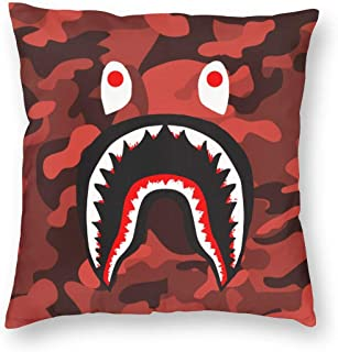 Throw Pillow Case Decorative Cushion Cover Square Pillowcase Blood Shark Sofa Bed Pillow Case Cover(18x18inch) Twin Sides