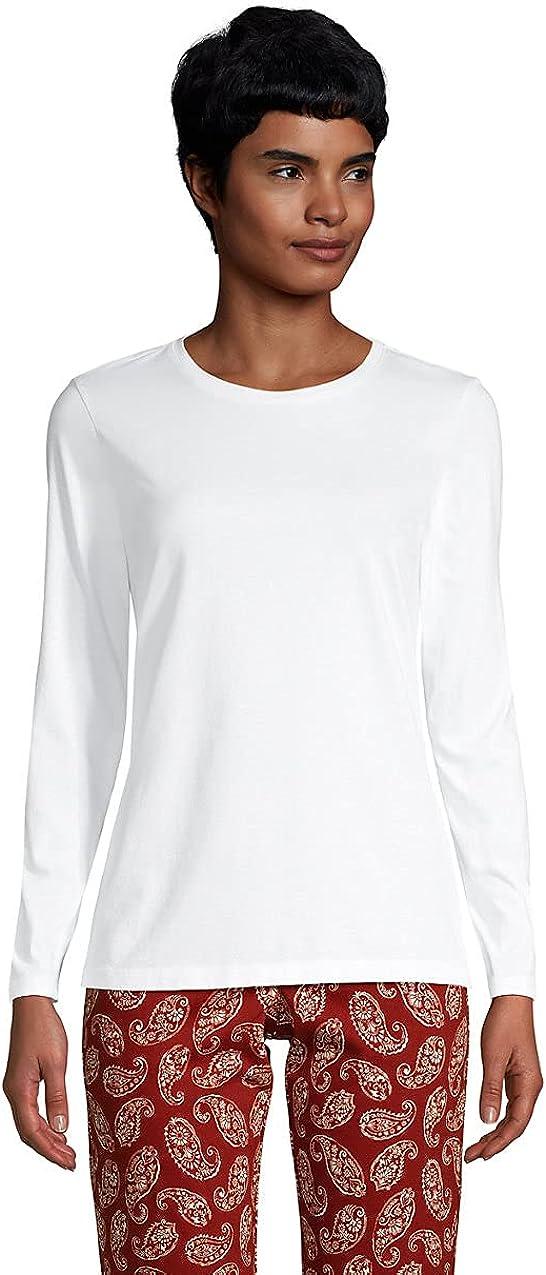 Lands' End Women's Relaxed Supima Cotton Long Sleeve Crewneck T-Shirt