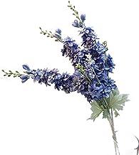 Suandsu 3pcs Artificial Delphinium Ajacis Flowers Fake Violet Silk Flower Table Kitchen Home Garden Party Wedding Decorati...