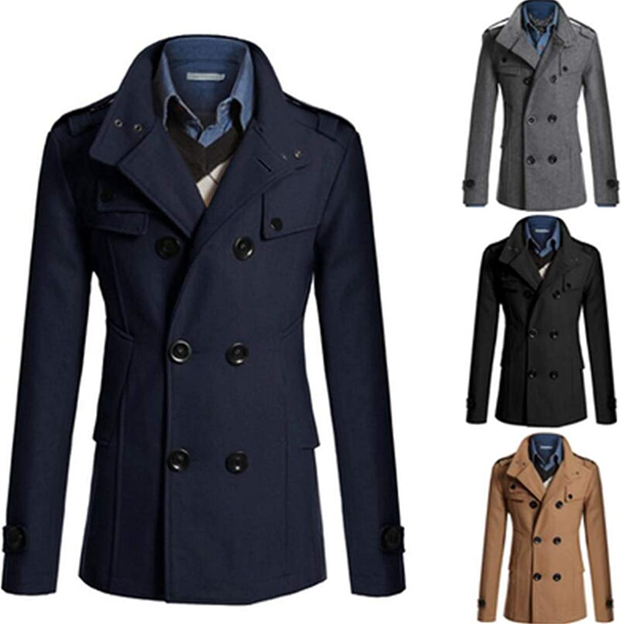 Cafuny Mens Turn Down Collar Wool Blend Double Breasted Casual Slim Trenchcoat Overcoat