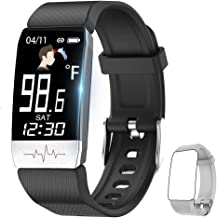 Fitness Tracker,Smart Watch with Body Temperature Thermometer Heart Rate Blood Oxygen Blood Pressure Monitor,Pedometer Watch with Sleep Monitor, Step Tracker for Kids Women Men