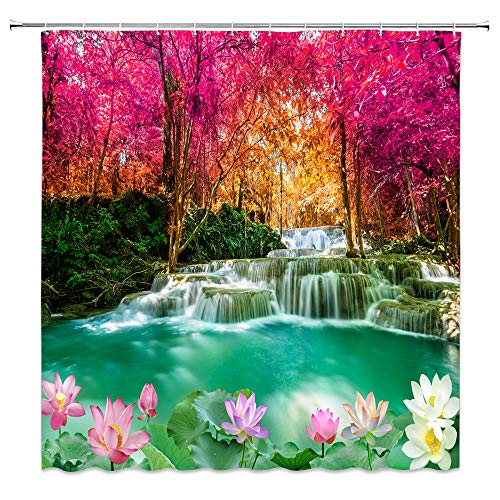 jingjiji Forest Waterfall Shower Curtain Autumn Dreamy Wonderland Green Lake Red Woods Lotus Pond Romance Natural Scenery Bathroom Decor Curtains Polyester Fabric with Hook (Rose Red, 70 X 70 Inch)