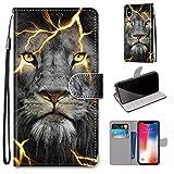 Miagon Flip PU Leder Schutzhülle für iPhone XS/X,Bunt Muster Hülle Brieftasche Case Cover Ständer mit Kartenfächer Trageschlaufe,Wütend Löwe