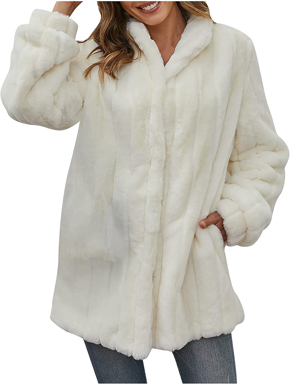 Jackets for Women, Casual Fleece Fuzzy Faux Shearling Warm Winter Oversized Outerwear Jackets Shaggy Coat
