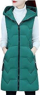 Briskorry Dames lang vest met capuchon donsvest met zakken winter warm donsjas outdoor gewatteerd vest effen oversized ves...