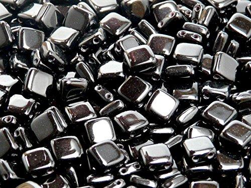 40pcs Tchèque Perles de verre Tuile à deux trous, Plat Carré 6x6x2.9mm Jet Black