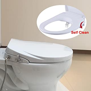 Hibbent Round Bidet Toilet Seats Non-Electric with Separated Self Cleaning Knob - Dual Nozzles Hygienic Washing for Rear & Feminine Cleansing - On/OFF Metal T Adapter Inclued(Round/Standard - SC208)