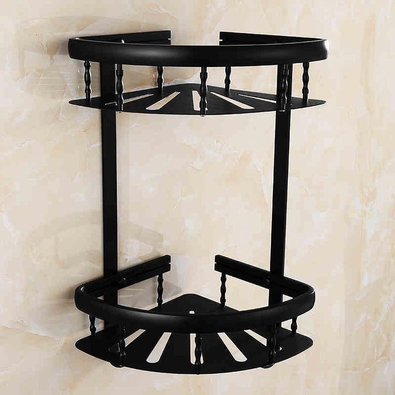 Cpp Shelf Bathroom Shelf Continental Space Aluminum Black Simple Double Fashion Triangle Basket