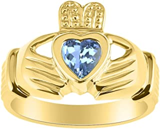 RYLOS CLADDAGH Claddah Love, Loyalty & Friendship Ring Ring with Heart Gemstone in Yellow Gold Plated Silver .925-6MM Colo...