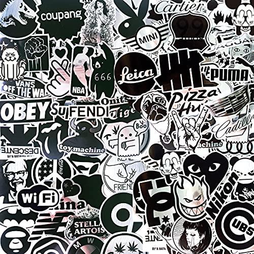 LeQin Sticker 100 Stück, Schwarz-Weiße Metall wasserdichte Vinyl Aufkleber, Coole Graffiti Aufkleber für Laptop Gepäck Notebook Skateboard Autos Motorrad Fahrrad