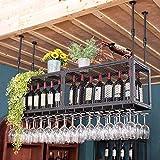 ZYLZL Estante para Vinos, Bar, Restaurante, Estante para Copas de Vino, Rejilla para el Techo Del Hogar, Arte de Hierro, Soporte para Botellas de Vino, Soporte de Alenamiento para Vasos Al Revés, Mos