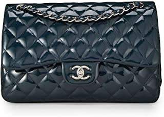 e302202d91 CHANEL Navy Quilted Patent Leather Classic Double Flap Jumbo (Pre-Owned)