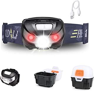 Outdoor Camping Headlights USB Rechargeable LED Headlamp, Multi Modes Super Brightness Head Torch Lighting, Waterproof Hea...
