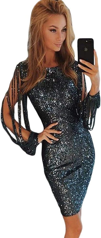 HuidiNET Women Dress Sequins Round Neck Tassel Leisure Long Sleeve Slim Bag Hip Hollow Solid color Polyester (color   1, Size   S)