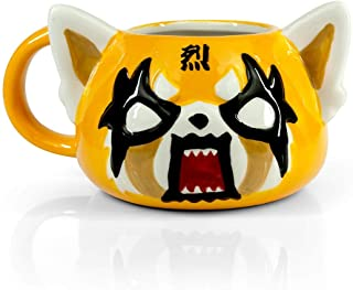 Aggretsuko Angry Face Ceramic Figural Mug - 3D Molded Red Panda Head Cup With Handle - Sanrio's Animated Anime Netflix Series Character - Funny Death Metal Rager