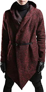 XINHEO Men Rockabilly Thigh-Length Front Wrap Overcoat with Hood