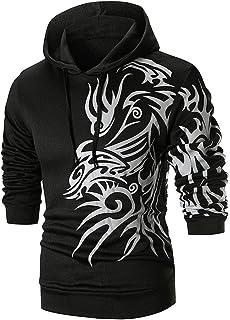 Mens Kung Fu Dragon Printed Long Sleeve Hoodie Pullover Sweatshirt Outwear Tops