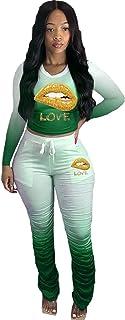 Women's Sweatpants Tracksuit Two Piece, Outfits Tracksuit Jogger Outfit Sweatshirt and Sweatpants Sports Sets,Green,XXXXL