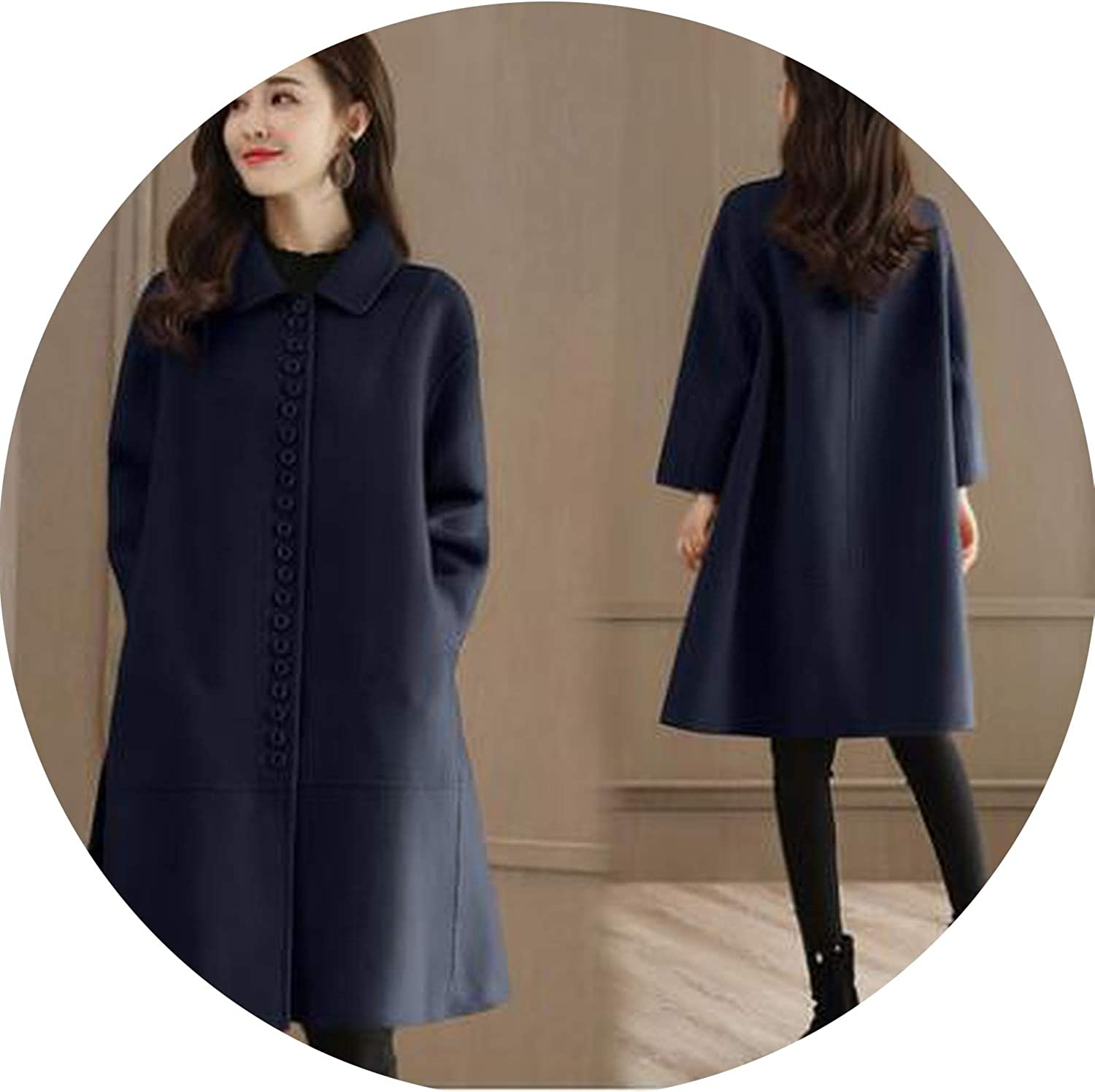 Europe Wool Coat 2018 Middle Age Fall Woolen Coat Long Paragraph Loose Large Size Jacket