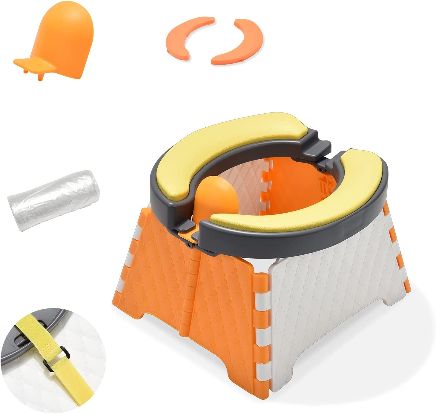 Travel Potty, DEMINE Foldable Toilet Trainer Baby Potty Seat with Splash Guard Portable Potty Training Seat for Toddler Kids Travel Potty for Indoor and Outdoor