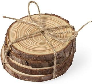 4 pieces natural pine wood tea coaster set