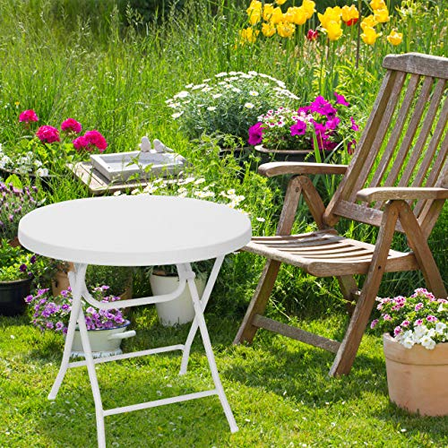 Relaxdays jardín Plegable Bastian, Hecho de plástico con Aspecto de Rattan, 74 x 80 x 80 cm, Mesa Auxiliar Acampar balcón Redonda, Color Blanco