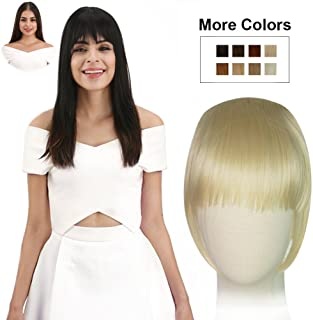 REECHO Fashion Full Length Synthetic 1 Piece Layered Clip in Hair Bangs Fringe Hairpieces Hair Extensions Color - Blonde