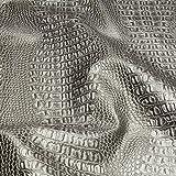 Stoff PVC Kunstleder Krokodil silber matt glänzend