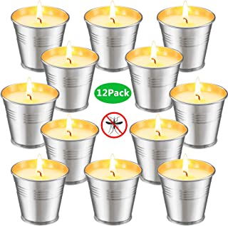 Ahyiyou Citronella Candles Indoor and Outdoor Scented Soy Wax Bucket Tin Candle Sets Pack of 12