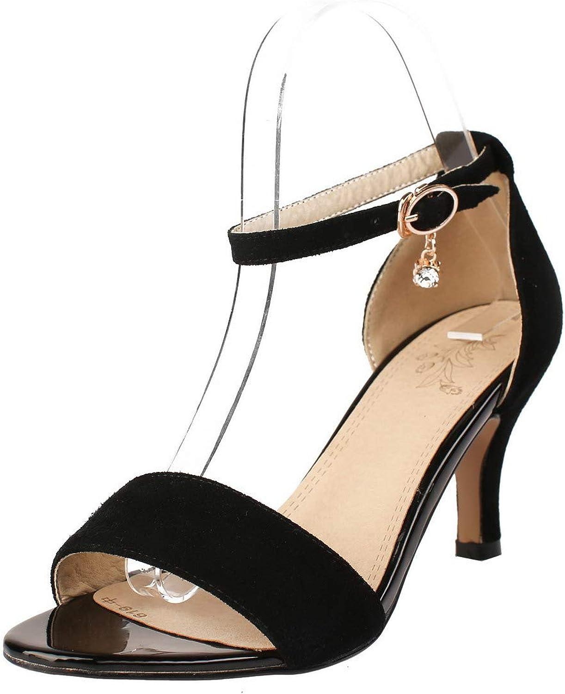 AmoonyFashion Women's Buckle Open Toe Kitten-Heels Xi Shi Velvet Solid Sandals,BUSLT004642