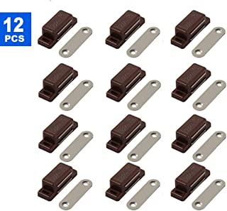 Cabinet Magnet Latch - Best for Cabinet Doors, Cupboards, Drawers and Shutters - Cabinet Magnetic Latch Easy Install - Magnetic Cabinet Catch Screws Included - Set of 12 (Brown)