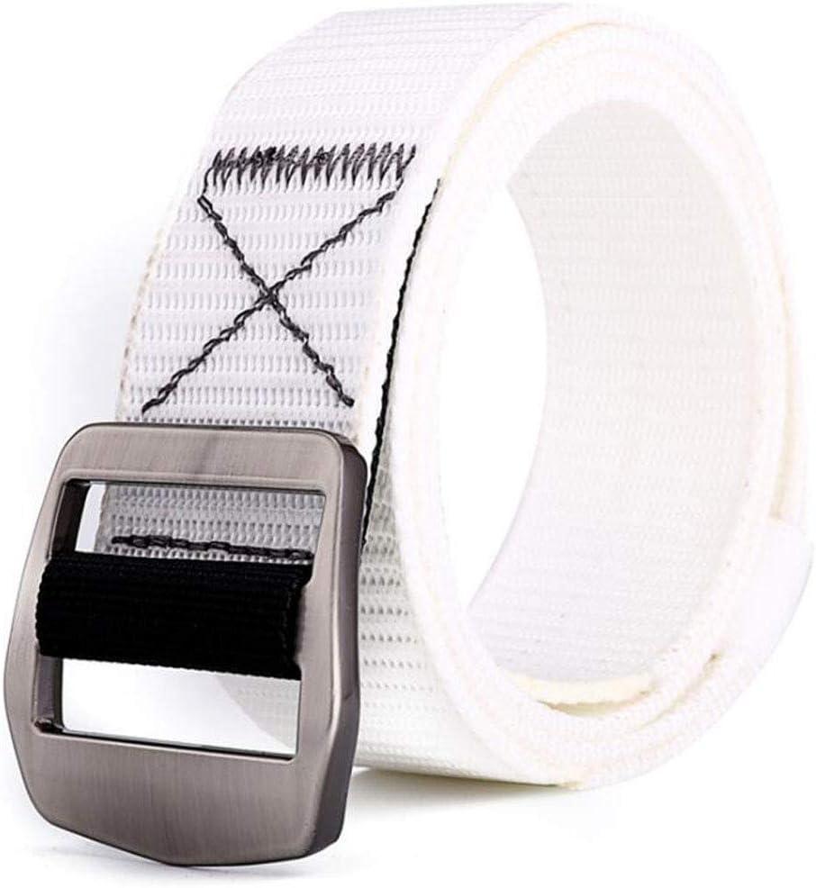 ACVXZ Cinturón de Nylon para Hombres y Mujeres Cinturón de Correas Ajustable Hebilla de Metal Longitud 49in (Color : Blanco, Tamaño : 125cm)
