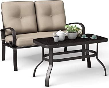 Giantex 2 Pcs Patio Loveseat with Coffee Table Outdoor Bench with Cushion and Metal Frame, Loveseat Furniture Set Sofa for Ga