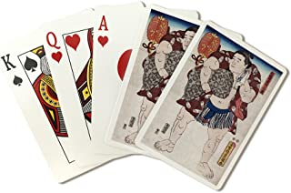 The Sumo Wrestler Ichiriki of the East Side Japanese Wood-Cut Print (Playing Card Deck - 52 Card Poker Size with Jokers)