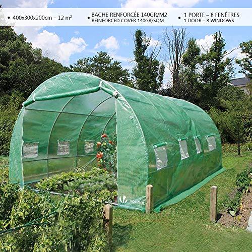 Serre de jardin | Tunnel serre de jardin | Serre de jardin tunnel 12m2 en acier galvanisé | Serre de jardin maraichère verte | Idéale pour faire pousser et protéger vos plantes en toutes saisons