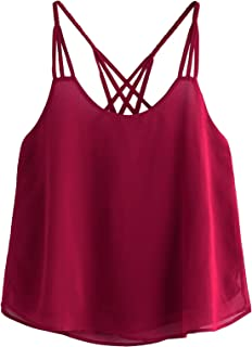 Women's Casual Strappy Lace Hem Criss Cross Back Cami Crop Top