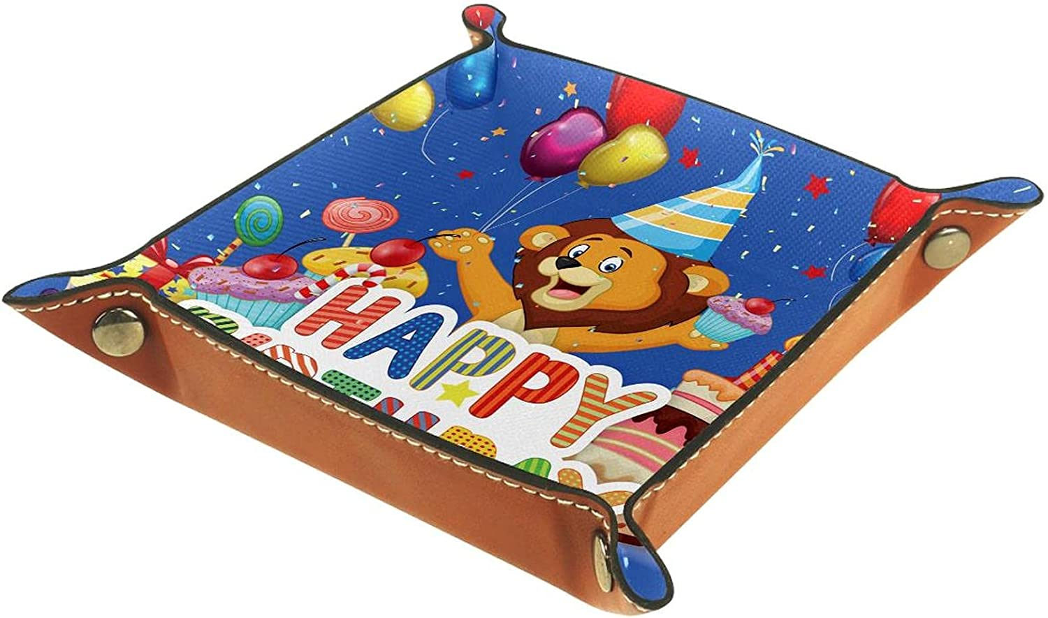 Valet Limited Special Price Tray Storage Box 16x16CM Indianapolis Mall Balloon Cake Happy Lion Birthday