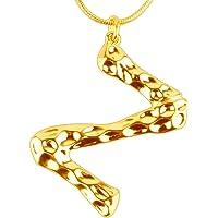 CHARM SUN Women Big Letter Pendant 18K Initial Chain Necklace