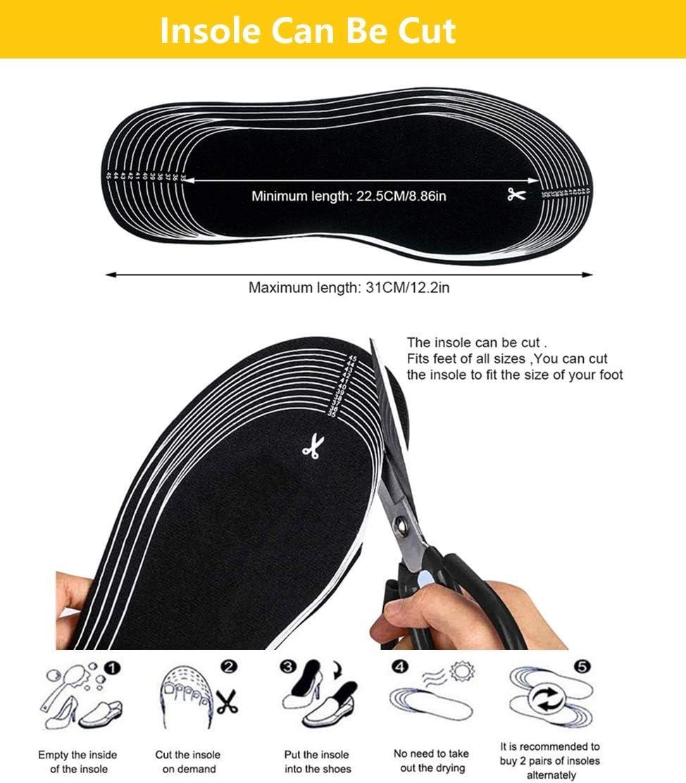 Dos Formas de Usar YIKEYO Plantillas Calefactables Recargables USB,con Caja de Bateria Se Puede Cortar Tama/ños 35 a 46 para Hombre y Mujer,Calentadores de Pies para Acampada y Marcha