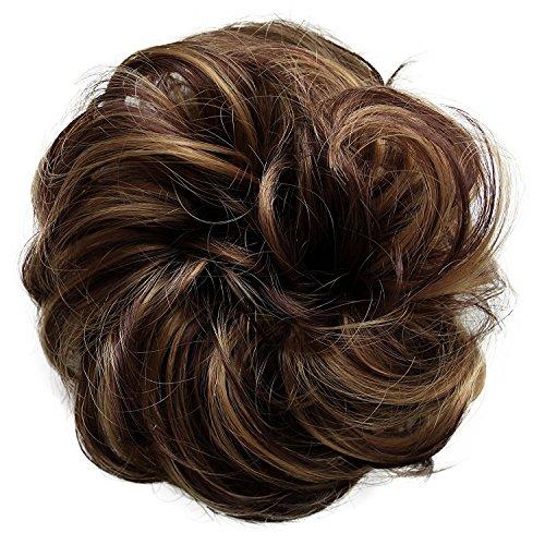 PRETTYSHOP Postizo Coletero Peinado alto, VOLUMINOSO, rizado, Moño descuidado marrón de...