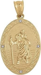Solid 14k Gold Saint Christopher Diamond Oval Medal Catholic Protection Pendant (1