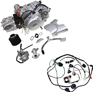 TDPRO 125cc 4-Stroke Semi-Auto Single-Cylinder Air-Cooled Electric-Start Motor Engine with Wiring Harness Kit for ATV Quad Four Wheelers