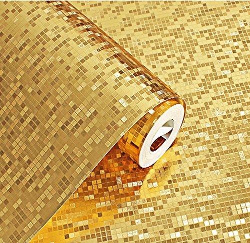 wdragon Folie Mosaik Hintergrund Flicker Wand Papier Moderne Rolle/Hotel Deckenleuchte/Deko Tapete 52,8x 200,2cm, gold
