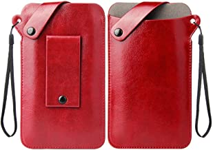 DFV mobile - Holder Ultra Lightweight Belt Case with Snap Fastener for Alcatel One Touch Flash OT-6042D - Red